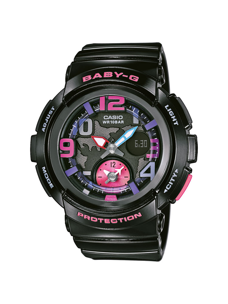 casio baby g uhr bga 190 1ber analog digital schwarz pink. Black Bedroom Furniture Sets. Home Design Ideas