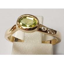 Damenring aus 585/- Gold Solitär Ring mit Peridot 030620-pe