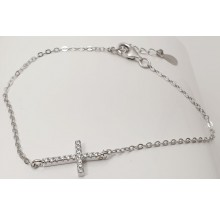 Damen Armband mit Kreuz aus Silber mit Zirkonia Steinen 157-91-w