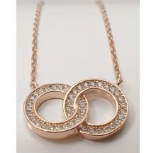 Damen Halskette mit verschlungenen Ringen  925/- Silber 157-78-r