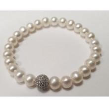 Damen Perlenarmband mit Glitzerkugel 104.0275