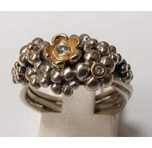 Pandora Damenring 925/- Silber mit 585/- Gold Fassung 190245D