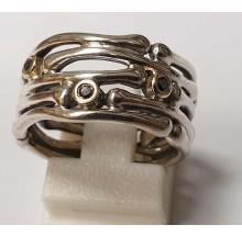 Pandora Damenring 925/- Silber mit 585/- Gold Fassung 190159DB-54