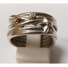 Pandora Damenring 925/- Silber mit 585/- Gold Fassung 190846D-56