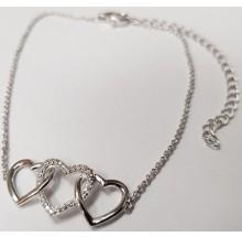 Damen Fußkette mit Herzen Silber 92006593280