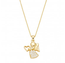 Damen Collier Engel mit Herz aus 925/- Silber vergoldet 99064791450