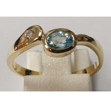 Damenring aus 585/- Gold Solitär Ring mit synth. Aqua B0440129