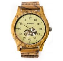 Laimer Woodwatch Teak Automatik Holzuhr LM0051