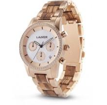 Laimer Woodwatch Kora Zebranoholz Holzuhr LM0136