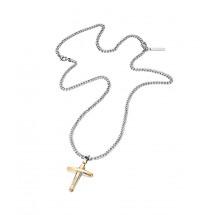 Police Herrenkette Kreuz bicolor PJ25695PSG-02