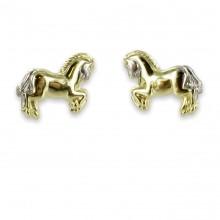 Goldene Kinder Ohrstecker Pferd bicolor 3192