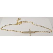 Damen Armband mit Kreuz aus Silber mit Zirkonia Steinen 157-91-g