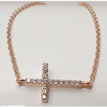 Damen Armband mit Kreuz aus Silber mit Zirkonia Steinen 157-91-r