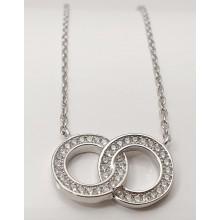 Damen Halskette mit verschlungenen Ringen  925/- Silber 157-78-a