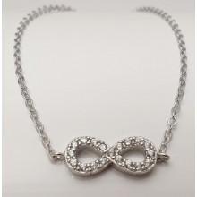 Damen Armband mit unendlich 8 aus Silber mit Zirkonia Steinen 157-61-w