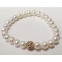 Damen Perlenarmband mit Glitzerkugel 104.0276
