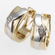 Damen Scharniercreolen aus 585/- Gold bicolor mit Brillanten 8-07241-51-0089