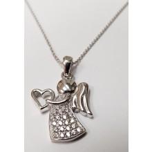 Damen Halskette mit Anhänger Engel mit Herz 925/- Silber 99011293450
