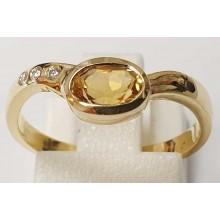 Damenring aus 585/- Gold Solitär Ring mit Citrin B044019