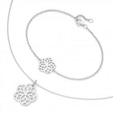 Damen SET Armband + Kette Blume 925/- Silber 99022193430