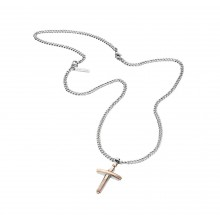 Police Herrenkette Kreuz bicolor PJ25695PSRG-03